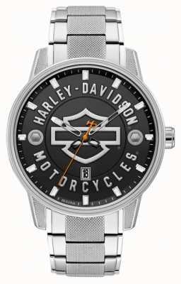 Harley Davidson Mannen voor hem! | roestvrijstalen armband | zwarte wijzerplaat 76B182