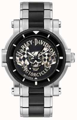 Harley Davidson Herenschedel en vlaggen | tweekleurige stalen armband | zwarte wijzerplaat 78A124