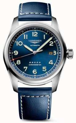 Longines Spirit blauwe wijzerplaat 42 mm automatisch blauw leer L38114930