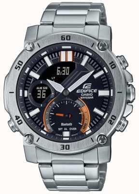 Casio Bouwwerk | roestvrijstalen armband | bluetooth | zwarte wijzerplaat ECB-20D-1AEF