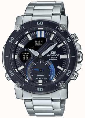 Casio Bouwwerk | roestvrijstalen armband | zwart / blauwe wijzerplaat | ECB-20DB-1AEF