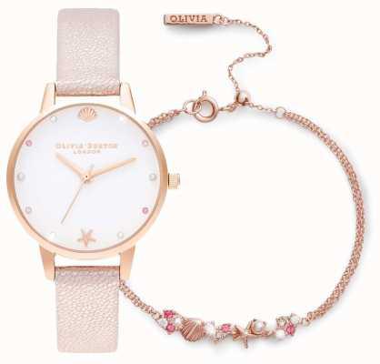 Olivia Burton | onder de zee | cadeauset met horloge en armband | roze | OBGSET141