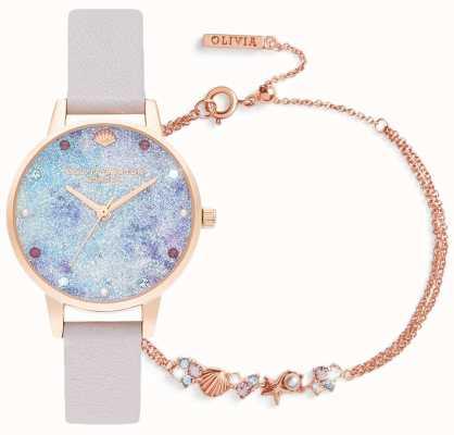 Olivia Burton Onder de zee | cadeauset met horloge en armband | lila OBGSET142