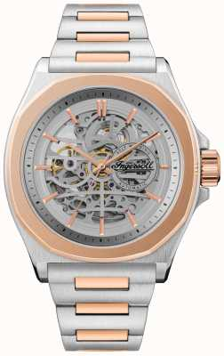 Ingersoll De Orville automatische tweekleurige armband met zilveren skeleton wijzerplaat I09304