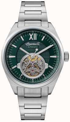 Ingersoll De Shelby automatische groene wijzerplaat roestvrijstalen armband I10903