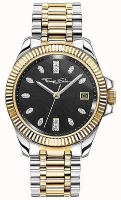 Thomas Sabo | vrouwen | goddelijk | tweekleurige stalen armband | zwarte wijzerplaat | WA0370-291-203-33