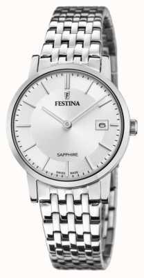 Festina Swiss made voor dames | roestvrijstalen armband | zilveren wijzerplaat F20019/1