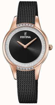 Festina Zwarte damesarmband van mesh | zwarte kristallen wijzerplaat F20496/2