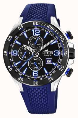 Lotus Blauwe siliconen band voor heren | zwarte chronograaf wijzerplaat L18673/8