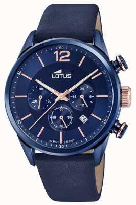 Lotus Blauwe leren herenband | blauwe chronograaf wijzerplaat L18681/2
