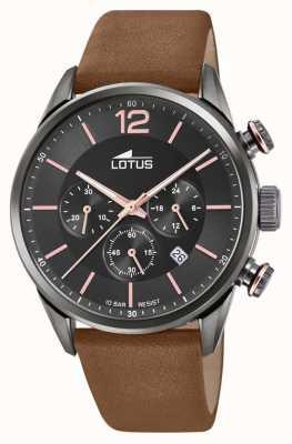 Lotus Bruine leren herenband | zwarte chronograaf wijzerplaat L18687/2