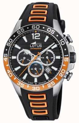 Lotus Zwart / oranje siliconen herenband | zwarte chronograaf wijzerplaat L18697/1