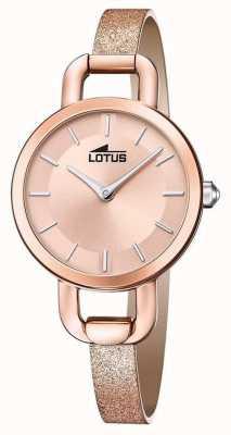 Lotus Leren damesriem met glitter | rose gouden wijzerplaat L18747/1