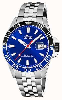 Lotus Roestvrijstalen herenarmband | blauwe wijzerplaat | zwart / blauwe ring L18766/1