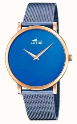 Lotus Blauwe stalen mesh-armband voor dames | blauwe wijzerplaat | rose gouden kast L18773/2