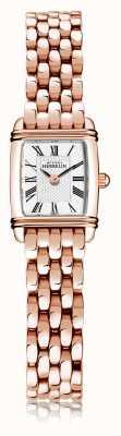 Michel Herbelin Art déco | rosé vergulde stalen damesarmband | witte wijzerplaat | Romeins cijfer | 17438/PR08B
