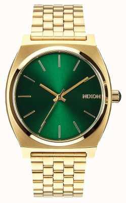Nixon Tijd teller | goud / groene zonnestraal | gouden ip stalen armband | groene wijzerplaat A045-1919-00