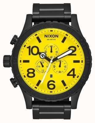 Nixon 51-30 chrono | helemaal zwart / geel | zwarte ip stalen armband | gele wijzerplaat A083-3132-00