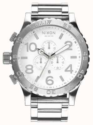 Nixon 51-30 chrono | hoogglans / wit | roestvrijstalen armband | witte wijzerplaat A083-488-00