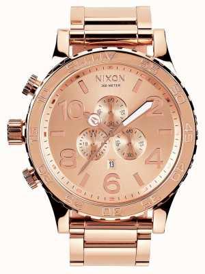 Nixon 51-30 chrono | alle roségoud | roségouden ip-armband | rose gouden wijzerplaat A083-897-00