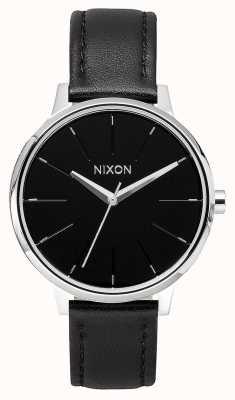 Nixon Kensington leer | zwart | zwarte leren band | zwarte wijzerplaat A108-000-00