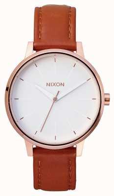 Nixon Kensington leer | rose goud / wit | bruine leren band | witte wijzerplaat A108-1045-00