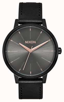 Nixon Kensington leer | zwart / gunmetal | zwarte leren band A108-1420-00