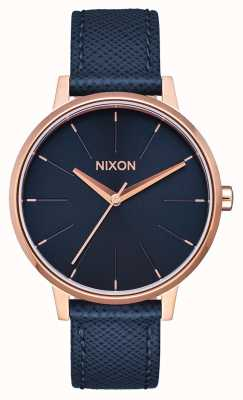 Nixon Kensington leer | marine / rosé goud | blauwe leren band | blauwe wijzerplaat A108-2195-00