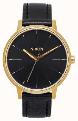 Nixon Kensington leer | goud / zwart | zwarte leren band | zwarte wijzerplaat A108-513-00