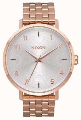 Nixon Pijl | geheel roségoud / wit | roségouden ip stalen armband | zilveren wijzerplaat A1090-2640-00