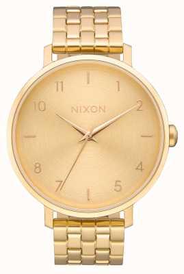 Nixon Pijl | alle goud | gouden ip stalen armband | gouden wijzerplaat A1090-502-00