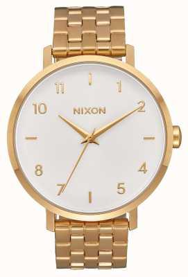 Nixon Pijl | geheel goud / wit | gouden ip stalen armband | witte wijzerplaat A1090-504-00