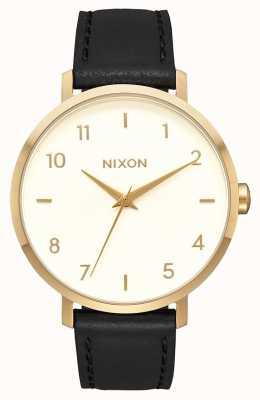 Nixon Pijl leer | goud / creme / zwart | zwarte leren band | crème wijzerplaat A1091-2769-00