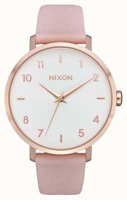 Nixon Pijl leer | rose goud / licht roze | roze leren riem | witte wijzerplaat A1091-3027-00