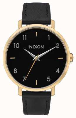 Nixon Pijl leer | goud / zwart | zwarte leren band | zwarte wijzerplaat A1091-513-00