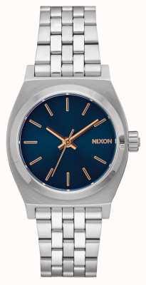 Nixon Middellange tijd teller | marine / rosé goud | roestvrijstalen armband | marine wijzerplaat A1130-2195-00