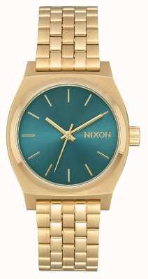 Nixon Middellange tijd teller | licht goud / turkoois | gouden ip stalen armband A1130-2626-00