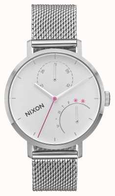 Nixon Koppeling | geheel zilver | roestvrijstalen gaas | witte wijzerplaat A1166-1920-00