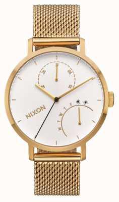 Nixon Koppeling | geheel goud / wit | gouden ip mesh armband | witte wijzerplaat A1166-504-00