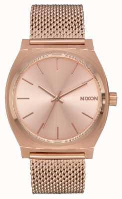 Nixon Time teller Milanese | alle roségoud | rose goud ip mesh | rose gouden wijzerplaat A1187-897-00