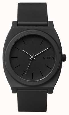 Nixon Tijd teller p | mat zwart | zwarte siliconen band | zwarte wijzerplaat A119-524-00