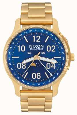 Nixon Ascender   alle goud / blauwe zonnestraal   goud ip staal   blauwe wijzerplaat A1208-2735-00