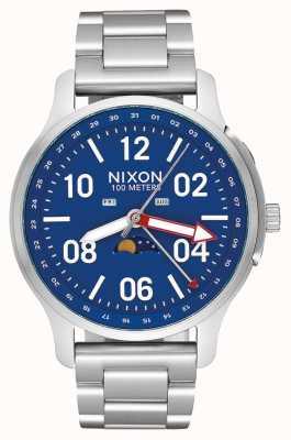 Nixon Ascender | zilver / blauw | roestvrijstalen armband | blauwe wijzerplaat A1208-722-00