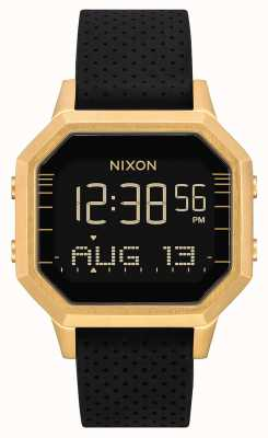 Nixon Sirene ss | goud / zwart lh | digitaal | zwarte siliconen band A1211-2970-00