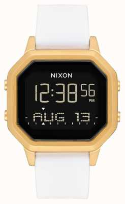 Nixon Sirene ss | goud / wit | digitaal | witte siliconen band A1211-508-00