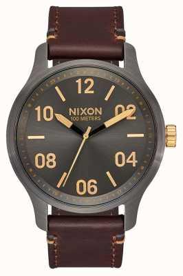 Nixon Patrol leer | brons / goud | bruine leren band | metalen wijzerplaat A1243-595-00