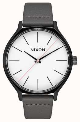 Nixon Clique leer | zwart / grijs | grijze leren band | witte wijzerplaat A1250-007-00