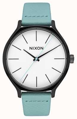 Nixon Clique leer | zwart / mint | mintgroene leren band | witte wijzerplaat A1250-3317-00