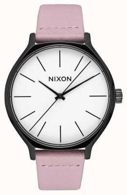 Nixon Clique leer | zwart / koraal | roze leren riem | witte wijzerplaat A1250-3318-00