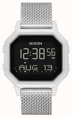 Nixon Sirene Milanese | geheel zilver | digitaal | roestvrijstalen mesh armband A1272-1920-00